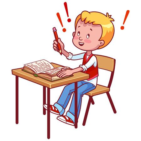 school desk: Joyful schoolboy behind a school desk with a book. Vector illustration on a white background. Illustration