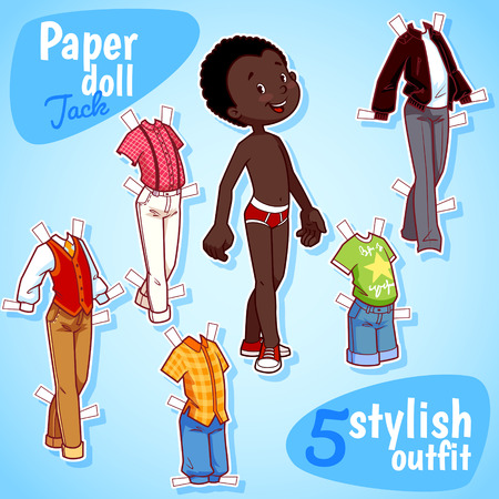 african boy: Very cute paper doll with five stylish outfits. Brunet boy. Vector illustration on a white background.