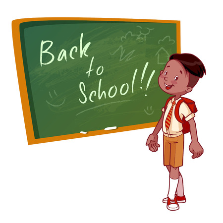 brunets: Cute schoolboy in uniform stands near the school board. Vector illustration on a white background. Back to school.