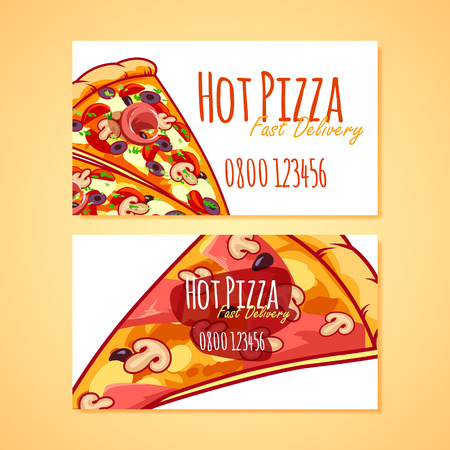 pizzeria label design: Two business card template for Pizza Delivery or Pizzerias. Vector clip art illustration