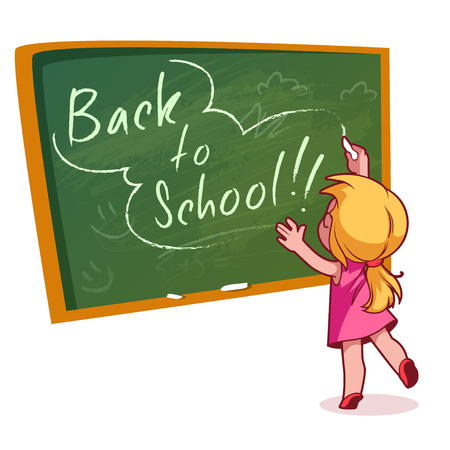 cartoon board: Little girl writing on a school board with chalk. Vector illustration on a white background. Back to school.