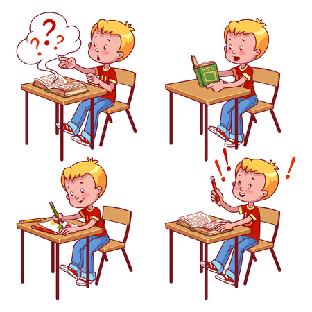 Cute schoolboy behind a school desk. Vector illustration on a white background.