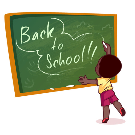 african american boy: Little African American boy writing on a school board with chalk. Vector illustration on a white background. Back to school.