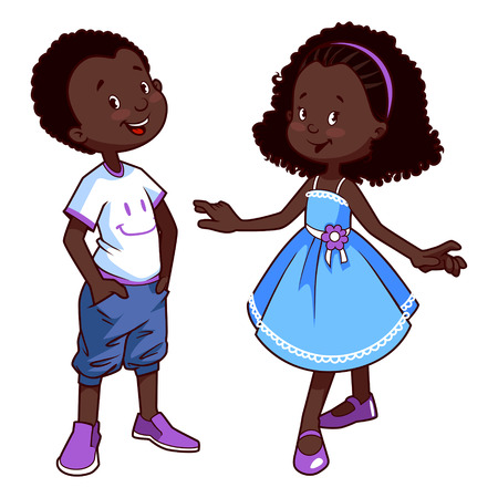 african boy: Very cute kids. Boy and girl. Vector illustration on a white background.