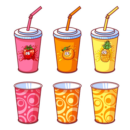 Plastic cup with different kinds of cocktails. Vector illustration on a white background. Illustration