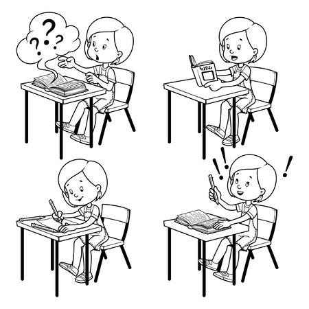 school desk: Cute schoolgirl behind a school desk. Vector illustration on a white background. Outline