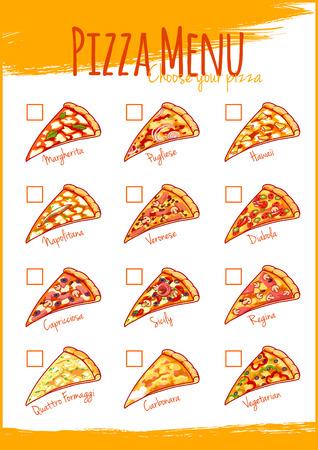 regina: Pizza menu. Vector illustration A4 size. Template menu. Illustration