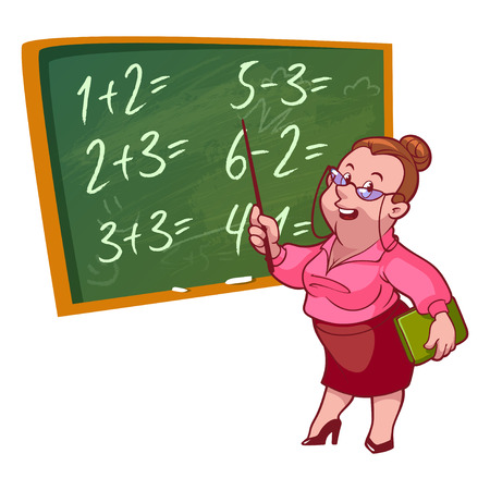 Cartoon teacher stands near the school board. Vector illustration on a white background.