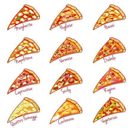 regina: Pieces of the different kinds of pizza. Vector illustration on white background.