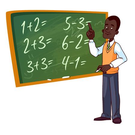 만화 교사는 학교 보드 근처에 서있다. 흰색 배경에 벡터 일러스트 레이 션.