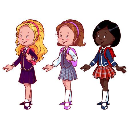 niños latinos: Tres chicas lindas en uniforme escolar. Ilustración del vector en un fondo blanco.