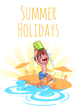 Cheerful boy pours water from a bucket on the beach. Summer Holidays. Vector illustration on a white background. A4 size.