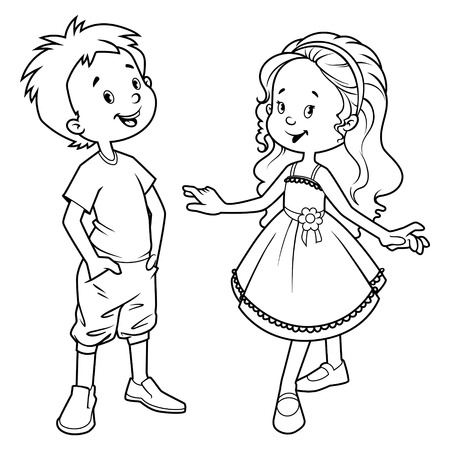 cartoons outline: Very cute kids. Boy and girl. Vector illustration on a white background.