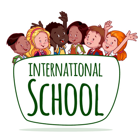 International School. Template logo. Vector Illustration on a White Background. Vectores
