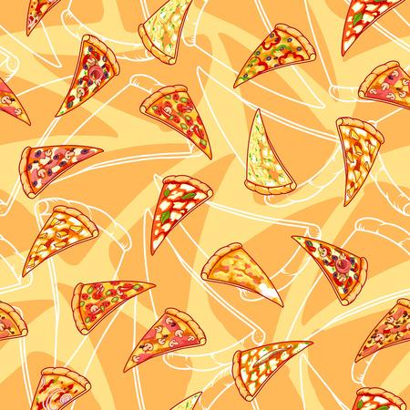 피자와 원활한 패턴입니다. 벡터 클립 아트 그림