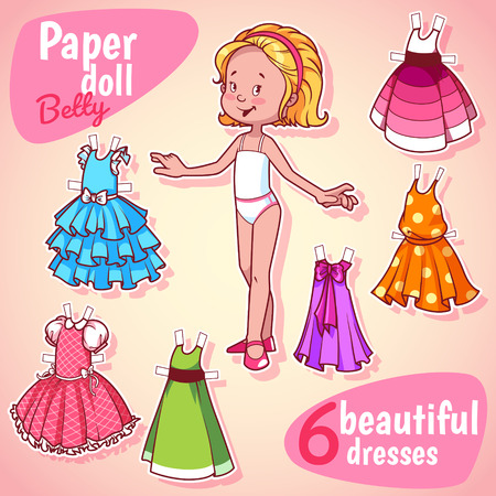 Very cute paper doll with six beautiful dresses. Blonde girl. Vector illustration on a white background.
