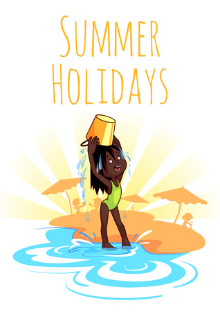 Cheerful African-American girl pours water from a bucket on the beach. Summer Holidays. Vector illustration on a white background. A4 size.