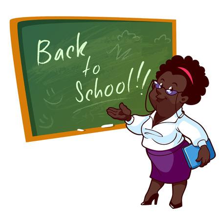 만화 아프리카 계 미국인 교사는 학교 보드 근처에 서있다. 흰색 배경에 벡터 일러스트 레이 션. 일러스트