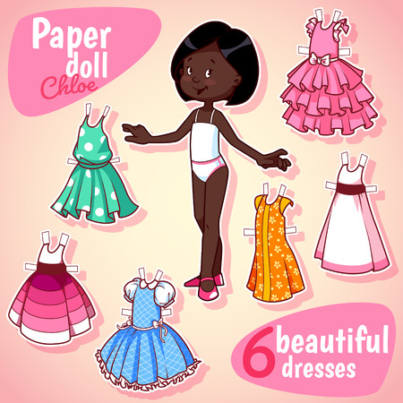 brunet: Very cute paper doll with six beautiful dresses. Brunet girl. Vector illustration on a white background. Illustration