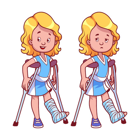broken leg: Cheerful and sad girl with a broken leg in a cast. Vector illustration on a white background. Illustration