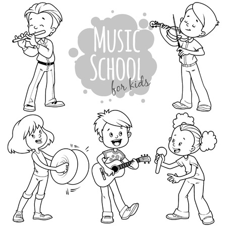 female singer: Cartoon kids playing musical instruments and singing. Vector clip art illustration on a white background.
