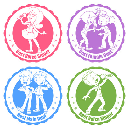 Badges for the best singers and duets. Vector clip art illustration on a white background.