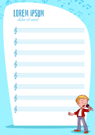 stave: Blank stave for kids with singing boy. Vector illustration. A4 size.