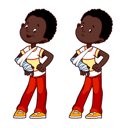 male arm: Cheerful and sad African American boy with a broken arm in a cast. Vector illustration on a white background.