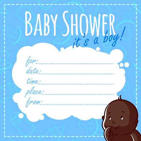 african american family: Baby Shower Card: Its a boy! Blank Baby Shower Invitations for Boy in blue tones