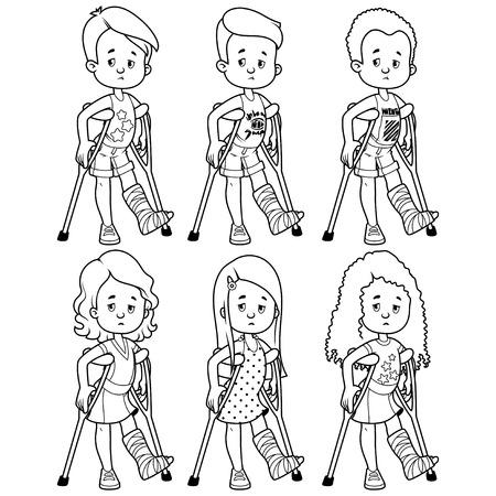 Droevige meisjes en jongens met een gebroken been in het gips. Vector illustratie op een witte achtergrond.