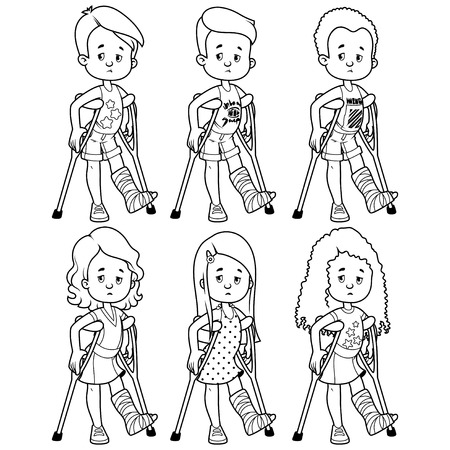 Sad girls and boys with a broken leg in a cast. Vector illustration on a white background.
