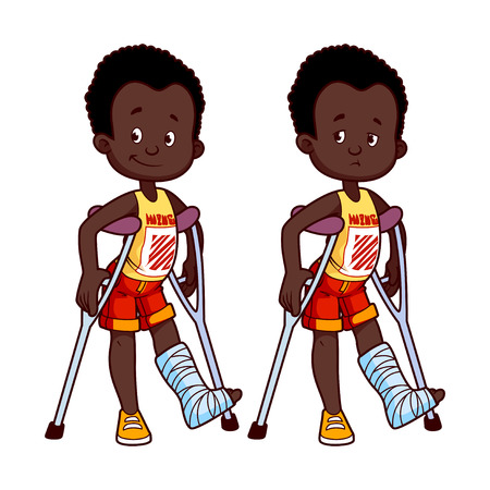 leg bandage: Cheerful and sad African American boy with a broken leg in a cast. Vector illustration on a white background.