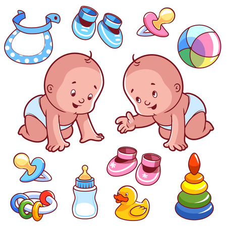 Two toddler in diapers with baby items. Vector Illustration on a white background.