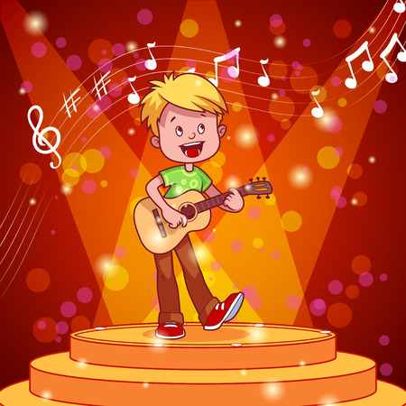 boy playing guitar: Cartoon boy singing and playing guitar. Vector clip art illustration