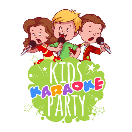 singers: Cartoon children sing with a microphone. Logo template for childrens karaoke party. Vector clip art illustration on a white background.