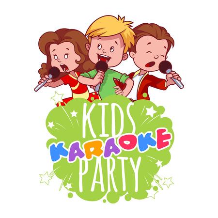 cantando: Ni�os de la historieta cantar con un micr�fono. Plantilla de logotipo para la fiesta de karaoke infantil. Ilustraci�n del arte Vector de im�genes sobre un fondo blanco. Vectores