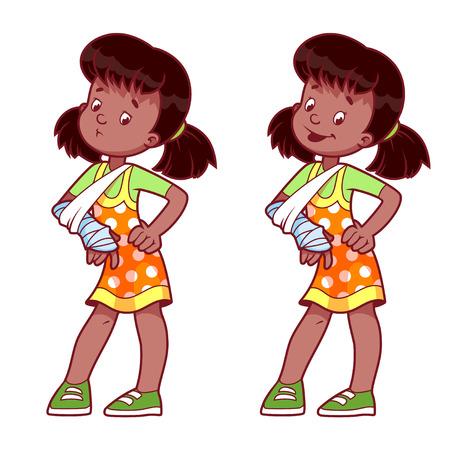 La muchacha alegre y triste con un brazo roto enyesado. Ilustración del vector en un fondo blanco.