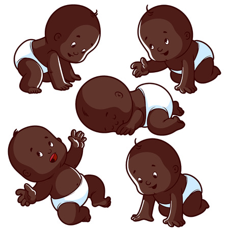 african boy: Baby toddler set with babies in diapers, crawling baby, sleeping baby and happy baby. African american baby. Vector Illustration on a white background.