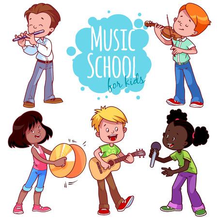 악기와 노래를 재생하는 만화 아이. 흰색 배경에 벡터 클립 아트 그림입니다.