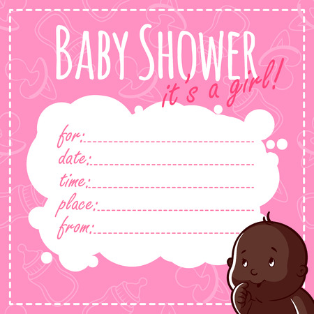 african american family: Baby Shower Card: Its a girl! Blank Baby Shower Invitations for Girl in pink tones