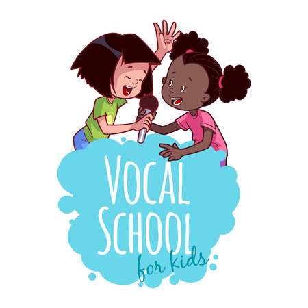 vocal: Logo template for vocal school. Vector clip art illustration on a white background.