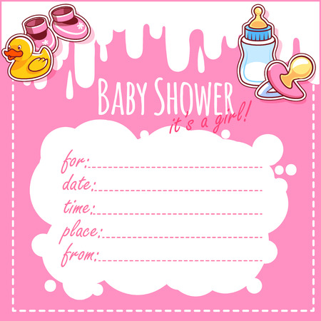 bootees: Baby Shower Card: Its a girl! Blank Baby Shower Invitations for Girl in pink tones