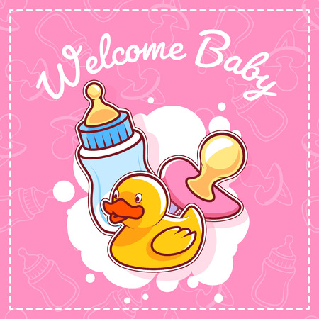 baby toys: Baby Shower Card: Welcome Baby! Template Baby Shower card for girl in pink tones