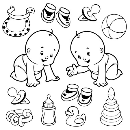bootees: Two toddler in diapers with baby items. Vector Illustration on a white background.