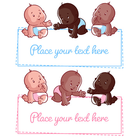 cute background: Cute little baby on a white background. Blank poster for your text entr Illustration