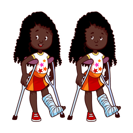 cast: Cheerful and sad African American girl with a broken leg in a cast. Vector illustration on a white background.