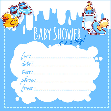 it's: Baby Shower Card: Its a boy! Blank Baby Shower Invitations for Boy in blue tones