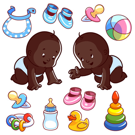 bootees: Two African American toddler in diapers with baby items. Vector Illustration on a white background.