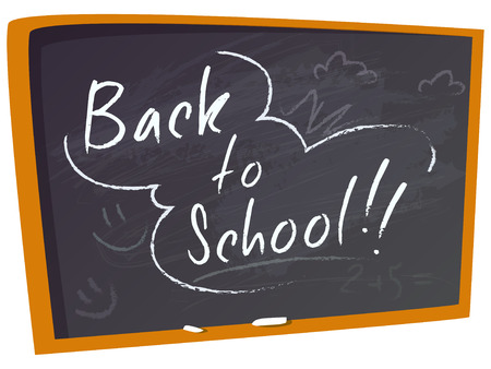 semester: Blackboard with an inscription Back to School. Vector illustration on a white background. Back to school.