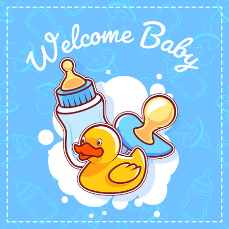 baby blue: Baby Shower Card: Welcome Baby! Template Baby Shower card for boy in blue tones